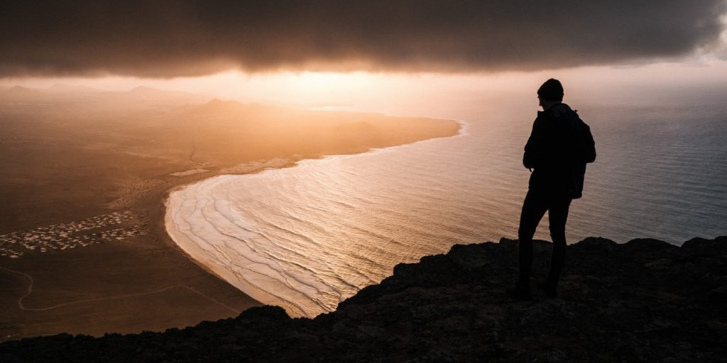 Man looking up the coast